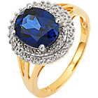 more details on 18ct Gold Plated Silver 2.00ct Look Sapphire & Diamond Ring.