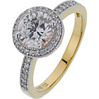 more details on 18ct Gold Plated Sterling Silver 1.50ct Look CZ Halo Ring.