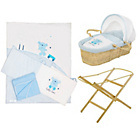 more details on Baby Elegance Moses Basket, Stand and Bedding Set - Blue.