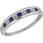 more details on 9ct White Gold Blue Sapphire and Diamond Half Eternity Ring.