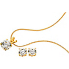 more details on 18ct Gold Plated 2.00ct Look CZ Pendant and Earrings Set.