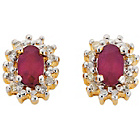 more details on 18ct Gold Plated Silver Oval Ruby and Diamond Earrings.