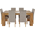 more details on Heart of House Alston Oak Dining Table and 6 Floral Chairs.