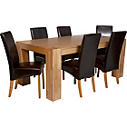 more details on Heart of House Alston Oak Dining Table & 6 Chocolate Chairs.