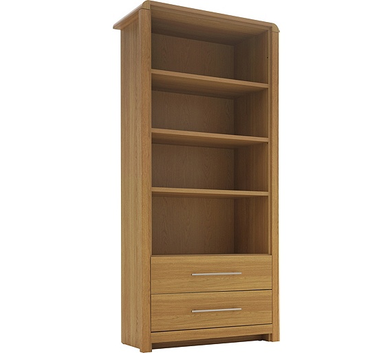 Buy heart of house elford bookcase oak effect at your online shop for bookcases for Oak shelving units living room