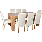 more details on Heart of House Alston Oak Dining Table and 8 Cream Chairs.