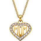 more details on 9ct Gold Plated Silver Cubic Zirconia 'Mum' Heart Pendant.