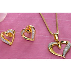 more details on 9ct Gold Plated Silver CZ Heart Pendant and Earrings Set.