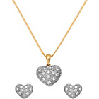 more details on 18ct Gold Plated Silver Pave Heart Pendant and Earrngs Set.