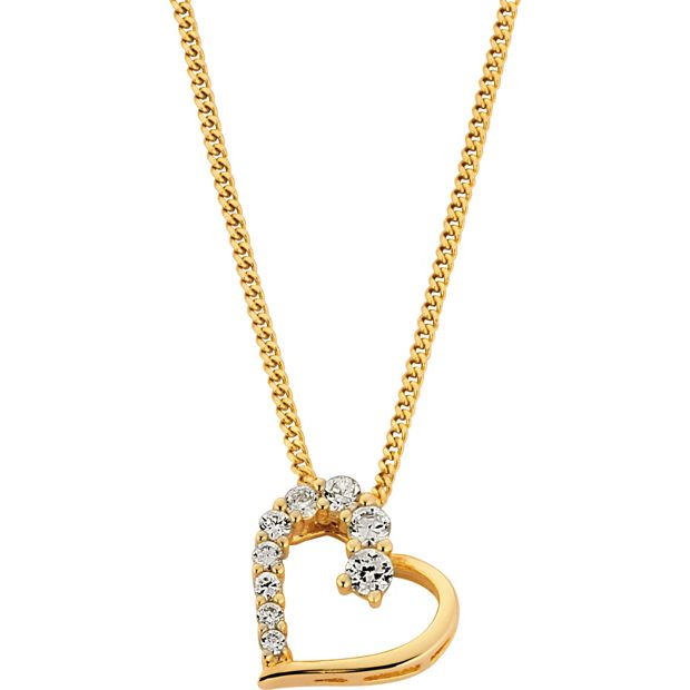 Buy 18ct Gold Plated Sterling Silver Cz Heart Pendant At