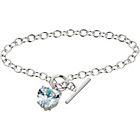 more details on Sterling Silver Cubic Zirconia Heart Charm T-Bar Bracelet.