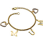 more details on 18ct Gold Plated Silver Mum Zirconia Heart Charm Bracelet.