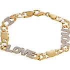 more details on 9ct Gold Plated Silver 'I Love You' Curb Bracelet.