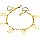 more details on 18ct Gold Plated Silver Zirconia Sister Charm Bracelet.