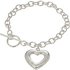 more details on Sterling Silver Diamond Heart Charm T-Bar Bracelet.