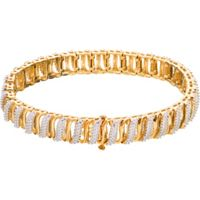 18ct Gold Plated Silver 0.10ct Diamond Womens Bracelet