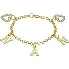 more details on 9ct Gold Plated Silver CZ 'Nan' Heart Charm Bracelet.