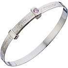 more details on Sterling Children's Silver Princess Bangle with Pink CZ.