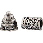 more details on Sterling Silver Birthday Cake Beads - Set of 2.