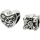 more details on Sterling Silver Gift Box Love Beads - Set of 2.