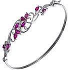 more details on Sterling Silver Created Ruby and Diamond Bangle.