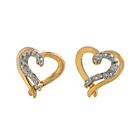 more details on 9ct Gold Plated Silver Diamond Set Heart Stud Earrings.