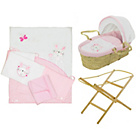 more details on Baby Elegance Moses Basket, Stand and Bedding Set - Pink.