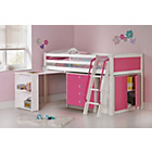 more details on Coloured Pink Mid Sleeper with Chest/Desk & Bibby Mattress.