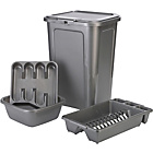 more details on HOME 4 Piece 45L Kitchen Bin Set - Silver.