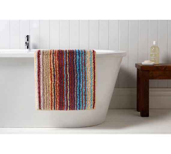 Buy christy supreme stripe bath mat spice at for Bathroom accessories argos