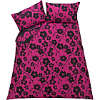 more details on Evie Floral Black and Pink Bedding Set - Kingsize.