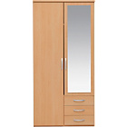 more details on New Hallingford 2 Door Mirrored Wardrobe - Beech Effect.