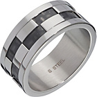 more details on Stainless Steel Checkered Band Ring.