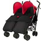 more details on Obaby Apollo Twin Stroller - Red with Black Footmuffs.