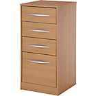Wooden 4 Drawer Filing Cabinet - Oak Effect