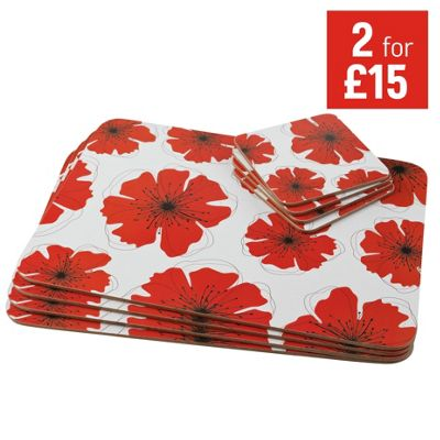 Buy HOME Poppies Placemat and Coaster Set White at Argos  : 2277628RSETTMBampwid620amphei620 from argos.co.uk size 620 x 620 jpeg 51kB