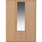 more details on New Hallingford 3 Dr 3 Drw Mirrored Wardrobe - Beech Effect.
