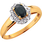 more details on 9ct Gold Black Sapphire and Diamond Cluster Ring.