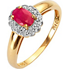 more details on 9ct Gold Ruby and Diamond Cluster Ring.