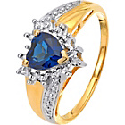 more details on 9ct Gold Created Sapphire and Diamond Heart Ring.