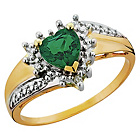 more details on 9ct Gold Created Emerald and Diamond Heart Ring.