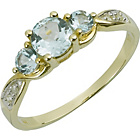 more details on 9ct Gold Blue Topaz and Diamond Trilogy Ring.