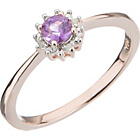 more details on 18ct Rose Gold Plated Silver Amethyst and Diamond Ring.
