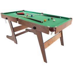Hy-Pro 6ft Folding Snooker and Pool Table With Balls and Accessories - Green