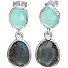 more details on Lynn Rodgers Silver Chalcedony & Aqua Double Drop Earrings.