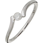 more details on 9ct White Gold Diamond Solitaire Look Twist Shoulder Ring.