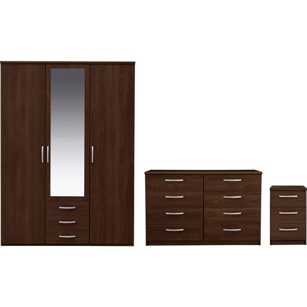 Buy collection new hallingford 3pc 3dr wardrobe package for Bedroom furniture argos