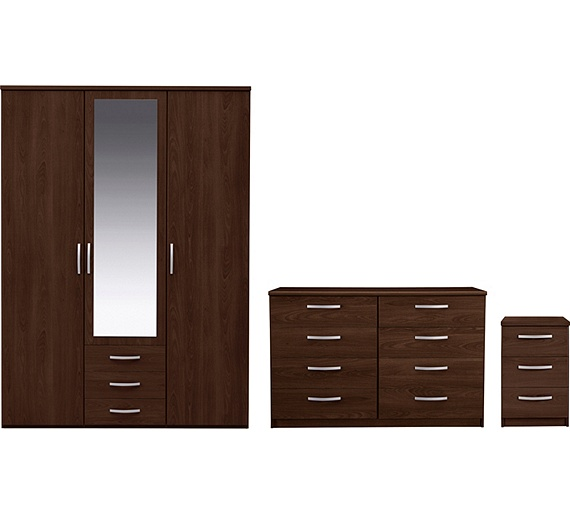 buy collection new hallingford 3pc 3dr wardrobe package wenge at your online. Black Bedroom Furniture Sets. Home Design Ideas