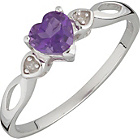 more details on 9ct White Gold Amethyst and Diamond Heart Ring.