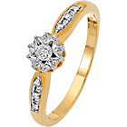 more details on 9ct Gold Illusion Set 0.10ct tw Diamond Solitaire DSS Ring.